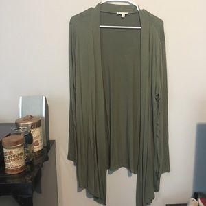 [Zenana Outfitters] Long Open Cardigan Green